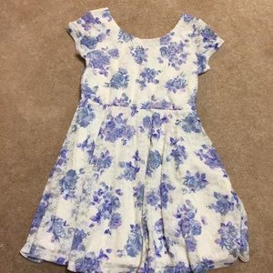 1989 PLACE Lace dress with blue and purple flowers